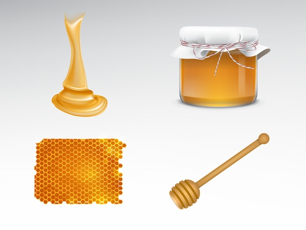 Fluindo mel, frasco de vidro com tampa de tecido, favo de mel, madeira dipper