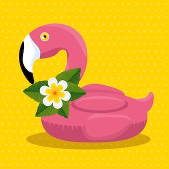 Flutuador flamingo tropical com flores e folhas