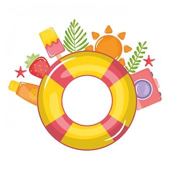 Flutuador salva-vidas com ícones de verão ao redor