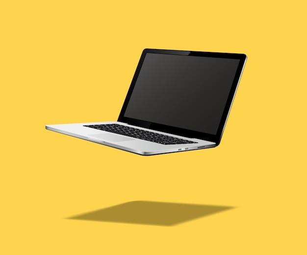 Flutuando ou levitando laptop isolado em amarelo