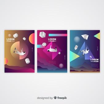 Flutuante coleção de modelo de folheto de formas 3d