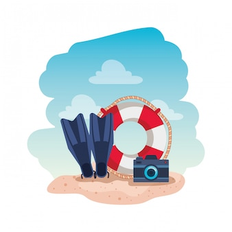 Flutuar marinho com câmera e nadadeiras de mergulho