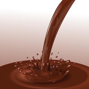 Fluxo de chocolate derretido de sobremesa doces com salpicos de ilustração vetorial de fundo