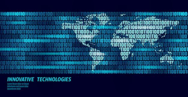 Fluxo de código binário de troca global de dados do planeta terra.