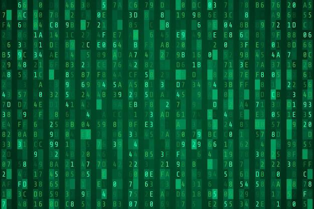 Fluxo de código hexadecimal verde aleatório