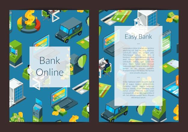 Fluxo de dinheiro isométrico no cartão de banco ícones