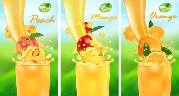Fluxo de líquido com gotas e frutas tropicais doces
