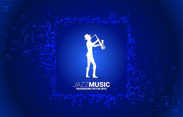 Fluxo de nota de melodia de música vetorial com homem e saxofone. fundo de conceito para música jazz e tema de concerto.