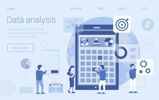 Fluxo de trabalho de análise de dados flat design landing page