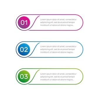 Fluxo de trabalho de layout de modelo da web de vetor delinear menu colorido para opções de número de interface de aplicativo da web Vetor Premium