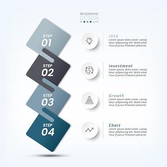 Fluxo de trabalho de negócios infográfico com etapa ou opção