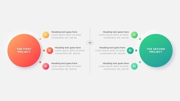 Fluxo de trabalho do processo opções de recursos gráfico de comparação diagrama círculos modelo de design de infográfico