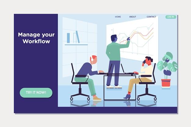 Fluxo de trabalho e gerenciamento de negócios. as pessoas trabalham em equipe e interagem com gráficos.