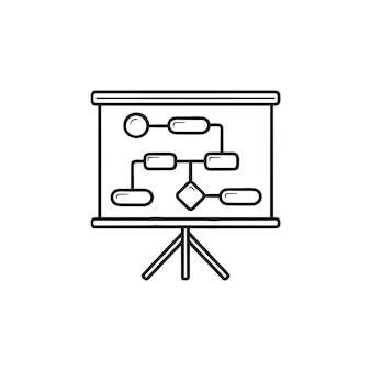 Fluxo de trabalho e planejamento ícone de doodle de contorno desenhado de mão. modelagem de processos de negócios, estratégia, conceito de tática. ilustração de desenho vetorial para impressão, web, mobile e infográficos em fundo branco.