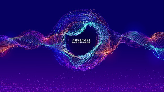Fluxo dinâmico líquido de partículas brilhantes. design moderno de cobertura de fluido