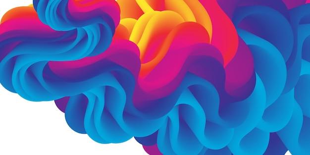 Fluxo fluido tinta forma líquida cor vibrante abstrata.