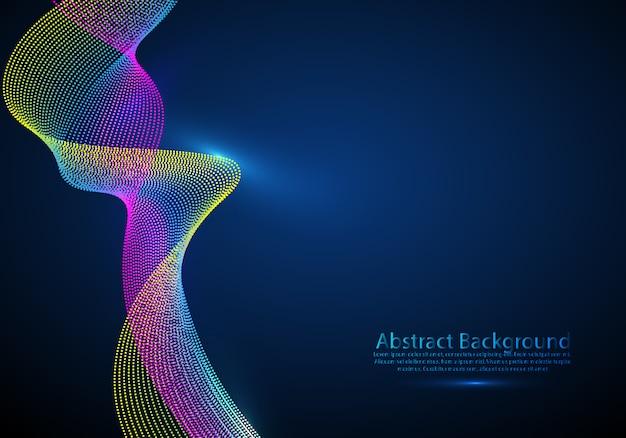 Fluxo sadio da onda da disposição da malha das partículas 3d.