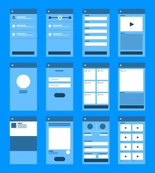 Fluxograma de interface do usuário de ux. conceito de aplicativo móvel s. ilustração