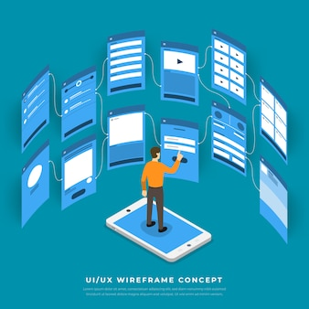 Fluxograma de interface do usuário de ux. isométrico do conceito de aplicativo móvel. ilustração.
