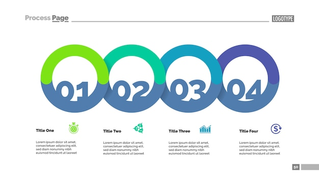 Fluxograma de quatro círculos com modelo de slide de descrição. dados da empresa. gráfico, diagrama