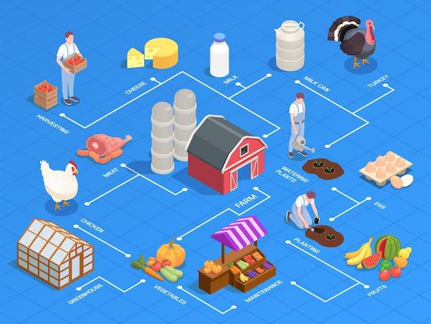 Fluxograma isométrico com produtos agrícolas locais, equipamentos, aves, agricultores, ilustração 3d