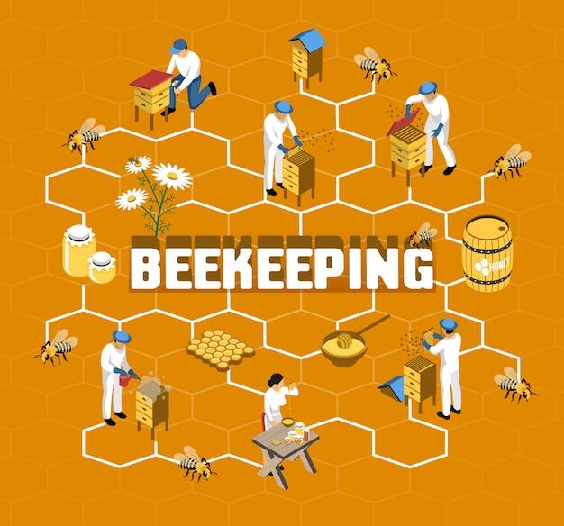 Fluxograma isométrico de apicultura com agricultores em roupas de proteção durante a produção de mel em laranja