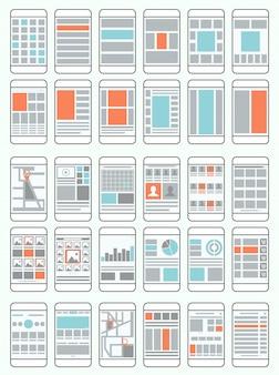 Fluxogramas de telefones celulares, wireframes, conjunto de layouts de interface para aplicativos móveis