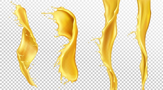 Fluxos de suco de laranja com gotas, salpicos de líquidos