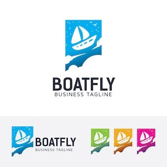 Fly de barco, modelo de logotipo