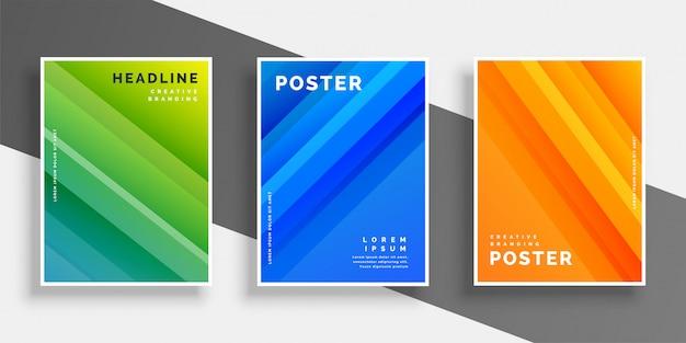 Flyer abstrato conjunto com design de listras