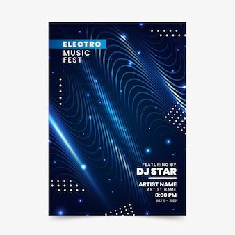 Flyer abstrato de ondas sonoras para música