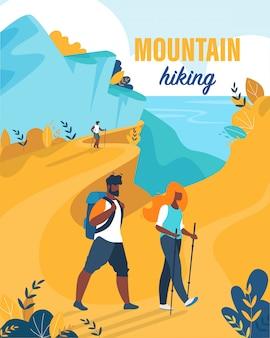 Flyer brilhante é escrito dos desenhos animados de caminhadas de montanha