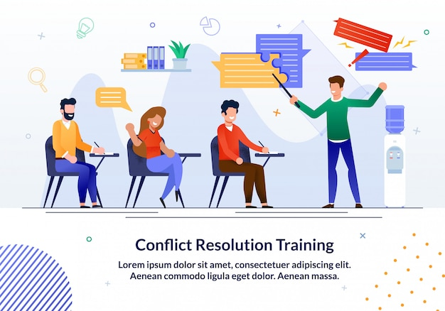 Flyer brilhante escrito treinamento de resolução de conflitos.