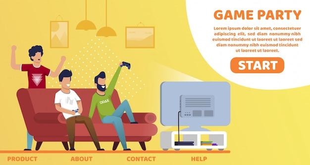 Flyer brilhante lettering mens jogo party cartoon.