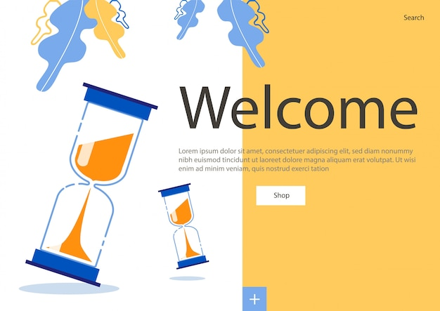 Flyer brilhante na inscrição welkome, ampulheta. tempo planejado para atingir metas. técnicas de gerenciamento de tempo simples e acessíveis. simplificando os processos de trabalho e o lazer. planejamento de tempo bem-sucedido.