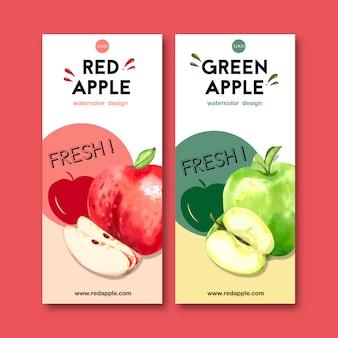 Flyer com frutas temáticas, modelo de ilustração em aquarela de maçã.
