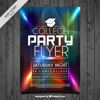 Flyer com luzes coloridas para a festa de faculdade