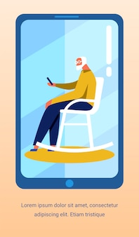 Flyer com o velho falando vídeo na tela do celular