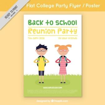 Flyer com os alunos para voltar para a escola