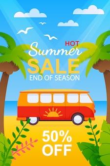 Flyer com venda de viagens de verão quente no final da temporada