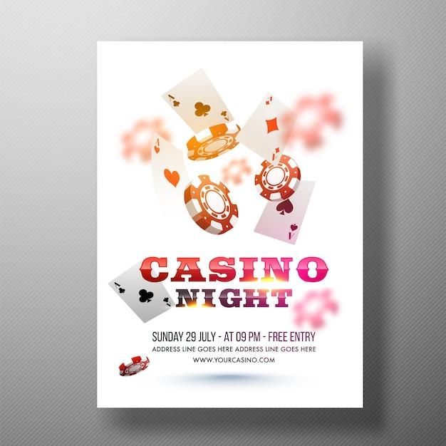 Flyer da noite do casino, modelo ou design do banner.