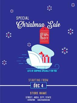 Flyer de anúncio de banner de venda de inverno de venda de natal