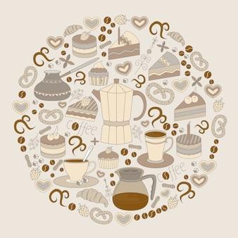 Flyer de cafés modernos de design plano, café e panelas.