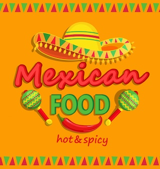 Flyer de comida mexicano com picante tradicional.