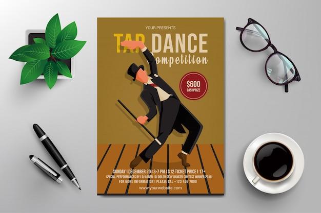 Flyer de competição de dança de torneira