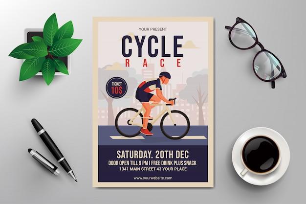 Flyer de corrida de bicicleta