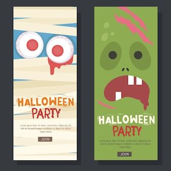 Flyer de halloween com fundo de zumbi e múmia