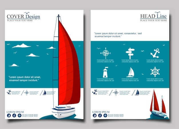 Flyer de iate clube com barco a vela.