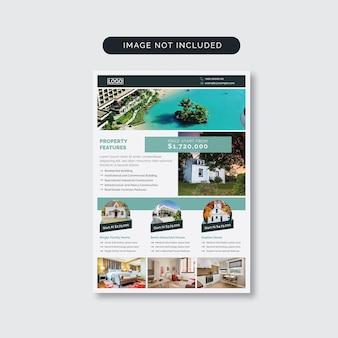 Flyer de imobiliária com elementos de foto
