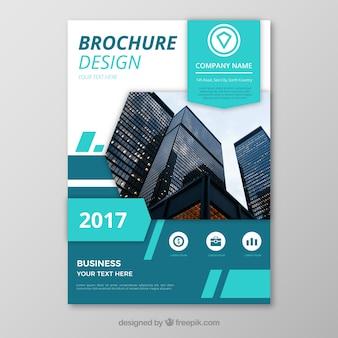 Flyer de negócios abstrato com elementos azuis